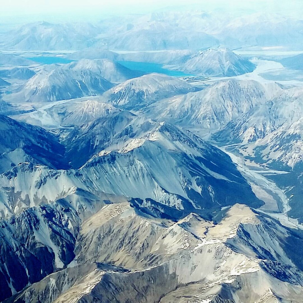 Southern Alps as captured from the plane when descending into Christchurch